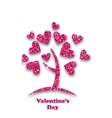 concept tree with shimmering heart leaves vector image vector image