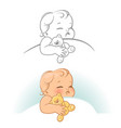 cute little sleeping baby vector image vector image