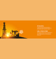 darck silhouette oil rig and pumps during sunset vector image vector image