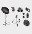 digital photography equipment set vector image vector image