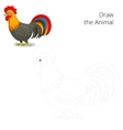 Draw the animal rooster educational game vector image vector image