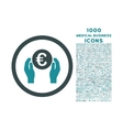 Euro Insurance Hands Rounded Icon with 1000 Bonus vector image vector image