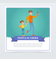 father and his son in 3d glasses with popcorn vector image vector image