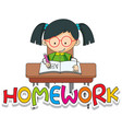 font design for word homework with happy girl vector image