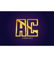 gold golden alphabet letter ac a c logo vector image