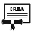 graduation diploma icon simple style vector image vector image