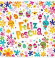 happy easter in spanish greeting card vector image vector image