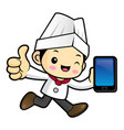 head chef character is holding a smartphone and vector image vector image