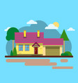 house with cloud tree road flat design urban vector image vector image