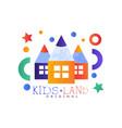 kids land logo original colorful creative label vector image vector image