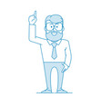 man raised his hand with forefinger pointing vector image