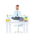 meditating office employee flat vector image vector image