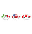 mexico usa canada car products vector image vector image
