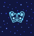 neon mittens icon in line style vector image vector image