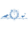 new year border with dogs raven and clock vector image vector image