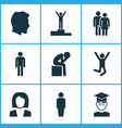 person icons set with success student male and vector image vector image
