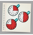 Red doodle timers vector image