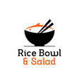 rice bowl icon with chopstick and fish vector image vector image