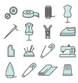 sewing and needlework tool thin line icon set vector image vector image