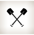 Silhouette of a crossed Shovels vector image