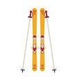ski board and sticks equipment vector image vector image