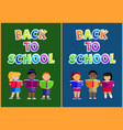 studying kids with books in hands education poster vector image vector image