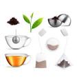 tea brewing bag realistic icon set vector image vector image