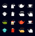 tea time icons collection vector image vector image