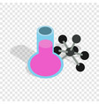test flask and molecule structure isometric icon vector image