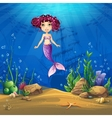 Undersea world with brunette mermaid vector image