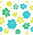 Vibrant Blue Green Exotic Flowers Seamless vector image vector image