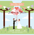 wedding couple holding balloons hearts save the vector image