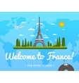 Welcome to France poster with famous attraction vector image vector image