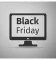 Monitor with Black Friday Sale on screen flat icon vector image