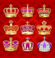 a set vintage crowns with precious stones vector image