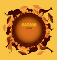 african safari animals silhouette round frame vector image