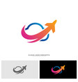 airplane cloud logo design concept vector image vector image