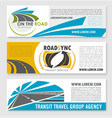 banners for road travel or transit company vector image vector image