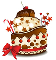 Big chocolate cake vector image