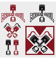 biker theme labels with pistons and skulls vector image vector image