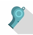 Blue sport whistle icon flat style vector image vector image