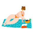 body positive beach woman in swimsuits sea summer vector image vector image