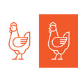 chicken linear logo vector image vector image