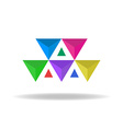 design logo colorful faceted triangles vector image