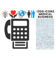 fax machine icon with 1300 medical business icons vector image