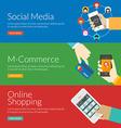 Flat design concept for social media m-commerce vector image vector image