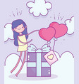 happy valentines day girl with gift box and vector image