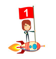 happy woman holding number one flag standing on vector image vector image