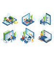 isometric people online education distance vector image