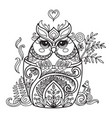 kawaii cute owl in a cup coloring vector image